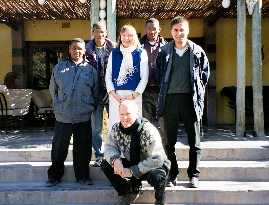 From left: Andries Steenkamp, Petrus Vaalbooi, Doris Schroeder, Collin Louw, Miltos Ladikas and Roger Chennells at the front, Kalahari 2004